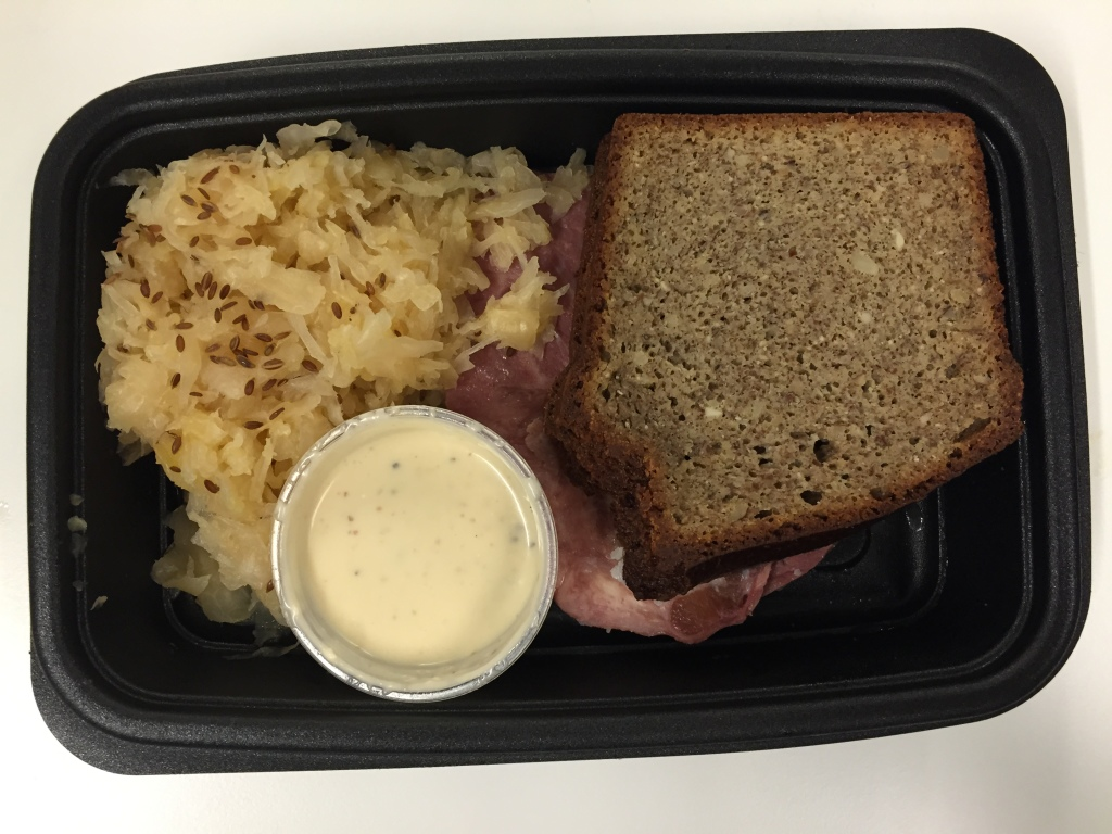 power supply roast beef brisket on gluten free almond bread with apple sauerkraut mixitarian lunch meal open