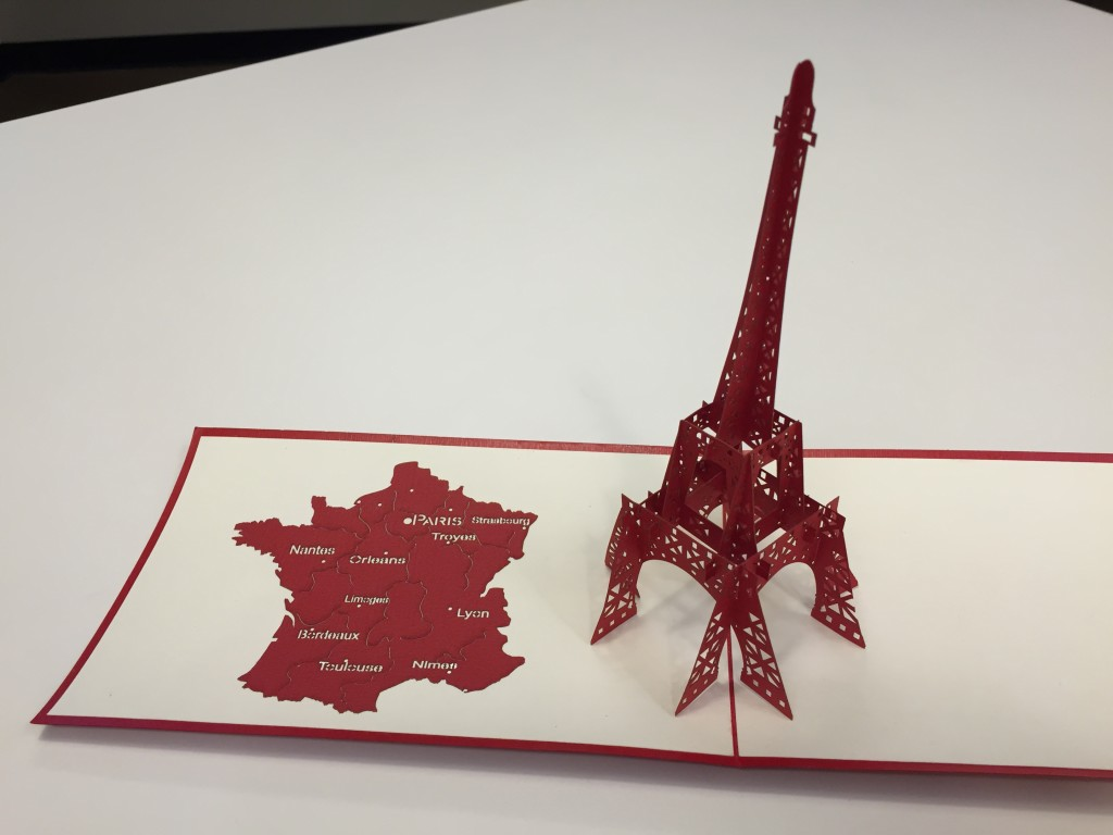 3d eiffel tower card open