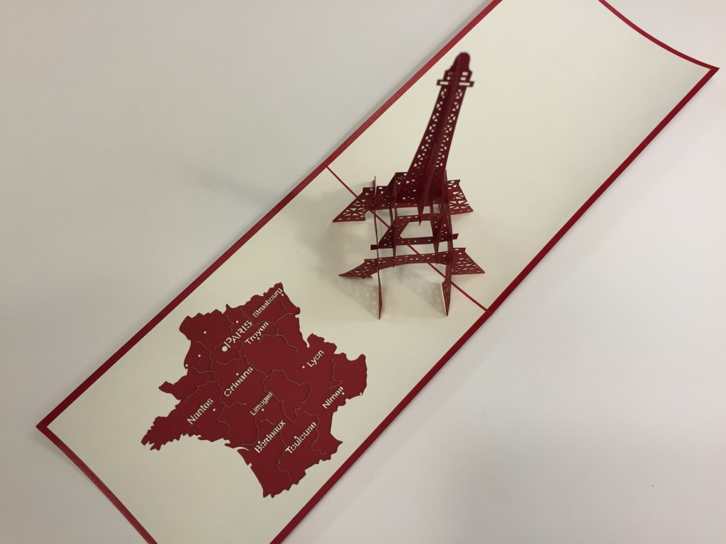 3d eiffel tower card top