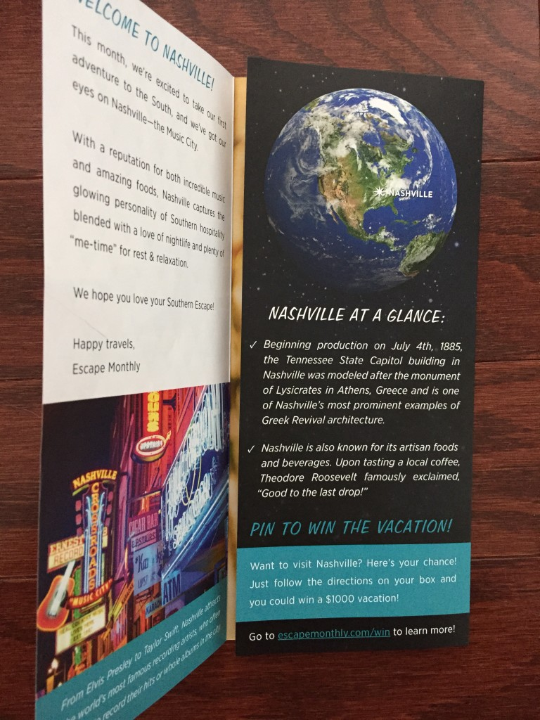 escape monthly february nashville box info card opened with fact sheet showing