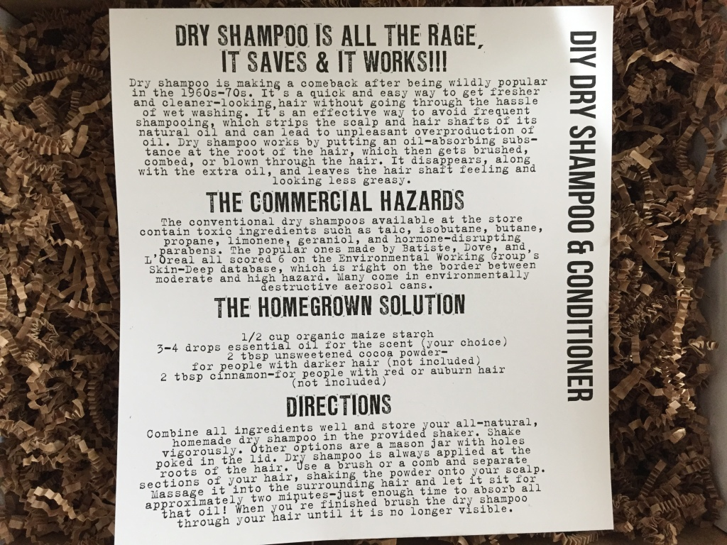 the homegrown collective january 2015 diy dry shampoo & conditioner info card