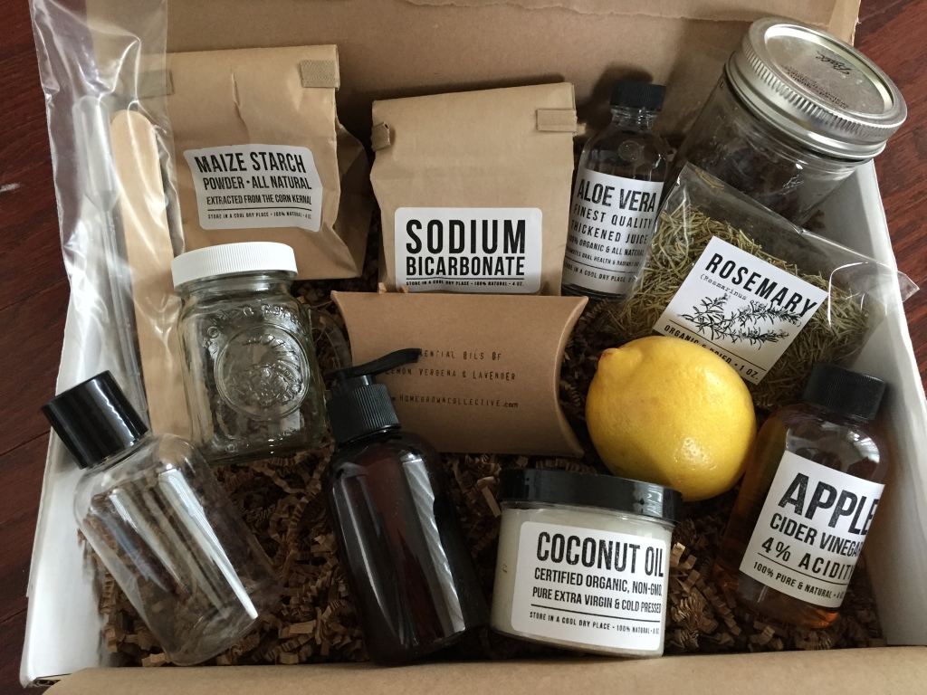 contents of the homegrown collective december 2014 box with let's go 'poo free theme