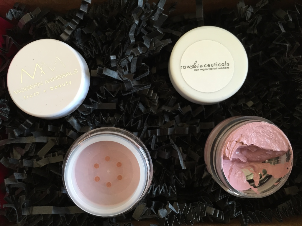 open contents of petit vour january 2015 box with modern minerals eye shadow and rawskinceuticals cheek color
