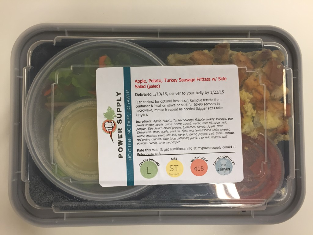 power supply apple, potato, turkey sausage frittata with side salad paleo lunch meal in box
