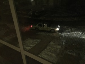 loudoun county sheriff's car parked outside in dark