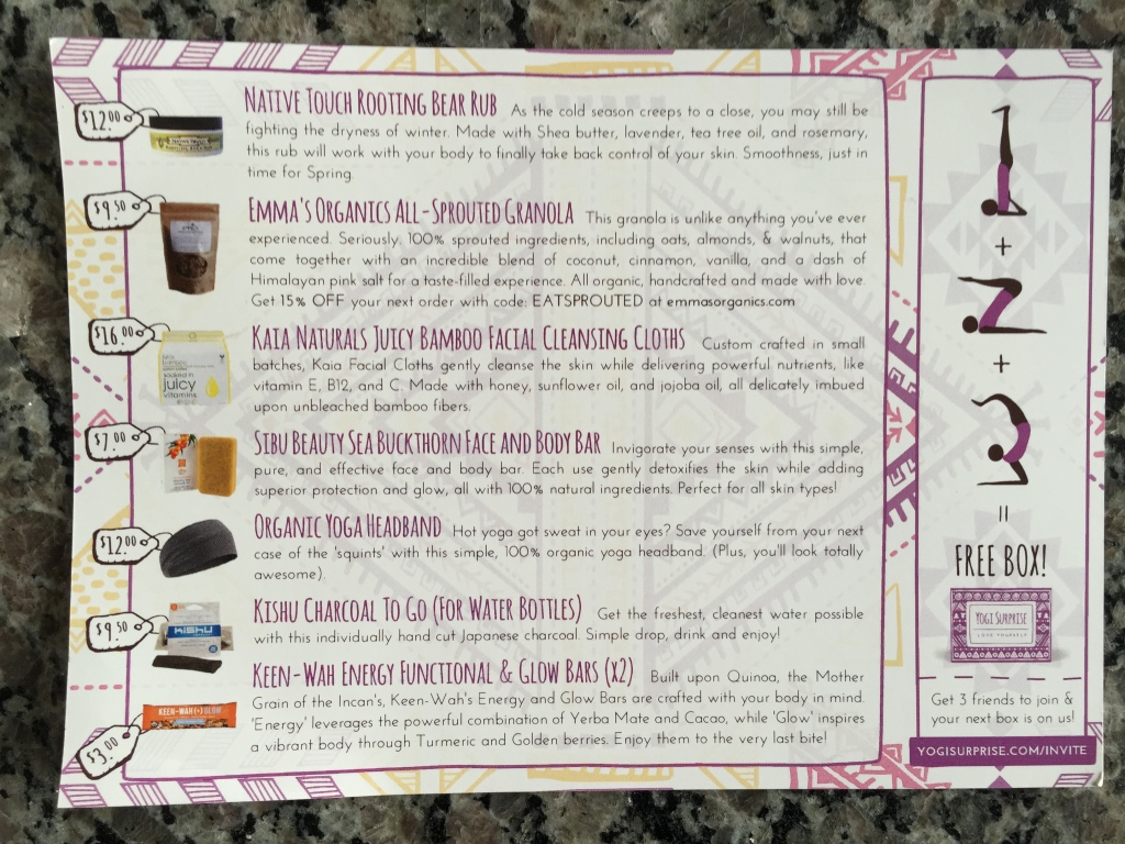 yogi surprise february 2015 info card with product details
