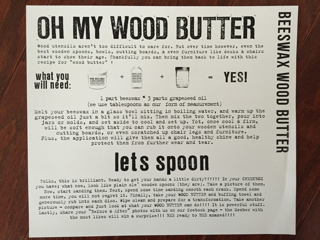 the homegrown collective february 2015 project beeswax wood butter info card