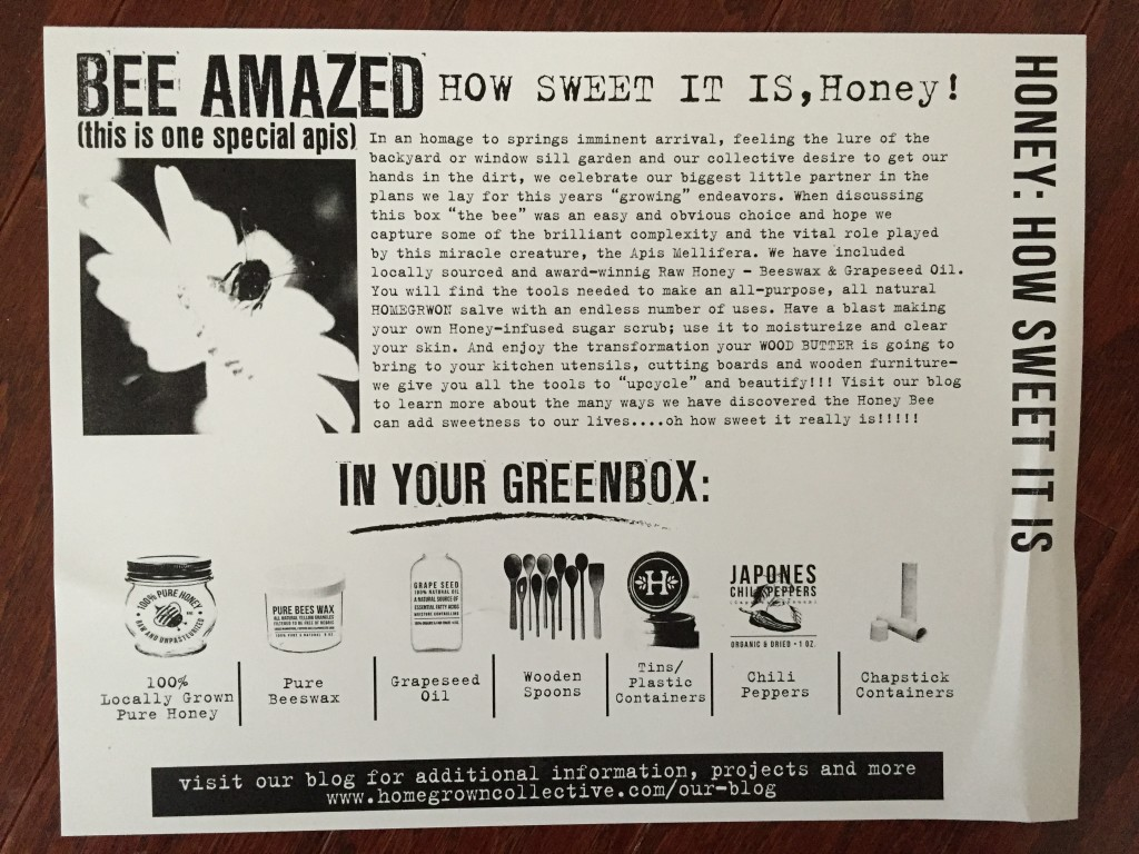 the homegrown collective february 2015 honey how sweet it is info card