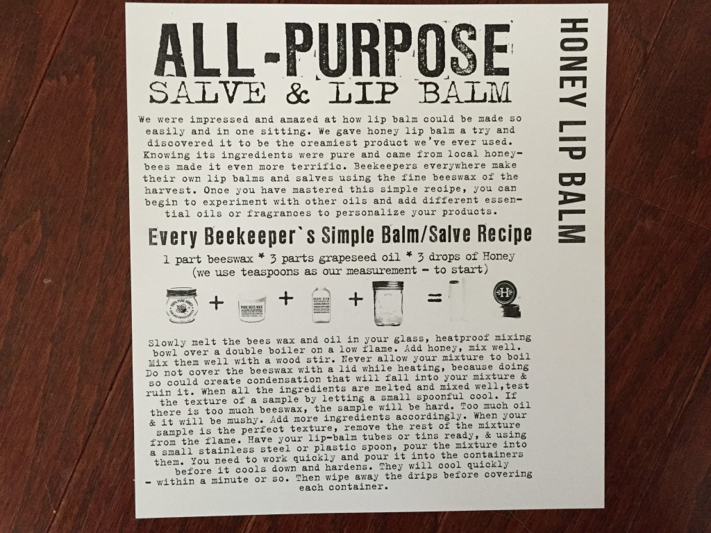 the homegrown collective february 2015 project honey lip balm info card