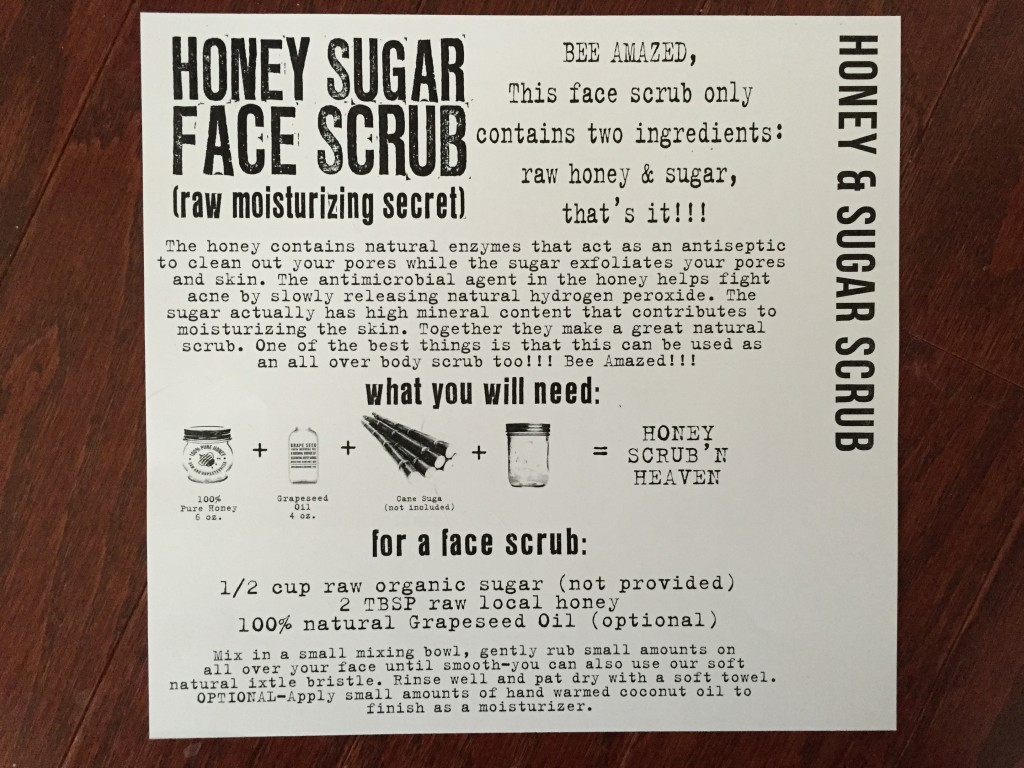 the homegrown collective february 2015 project honey sugar face scrub info card
