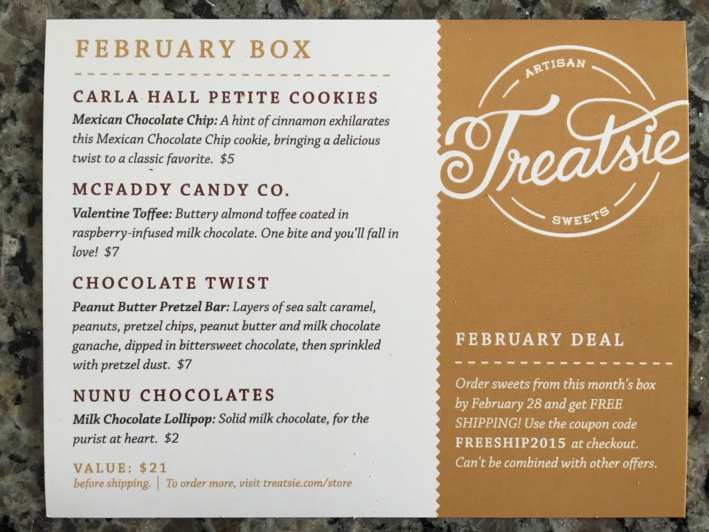 treatsie february 2015 info card