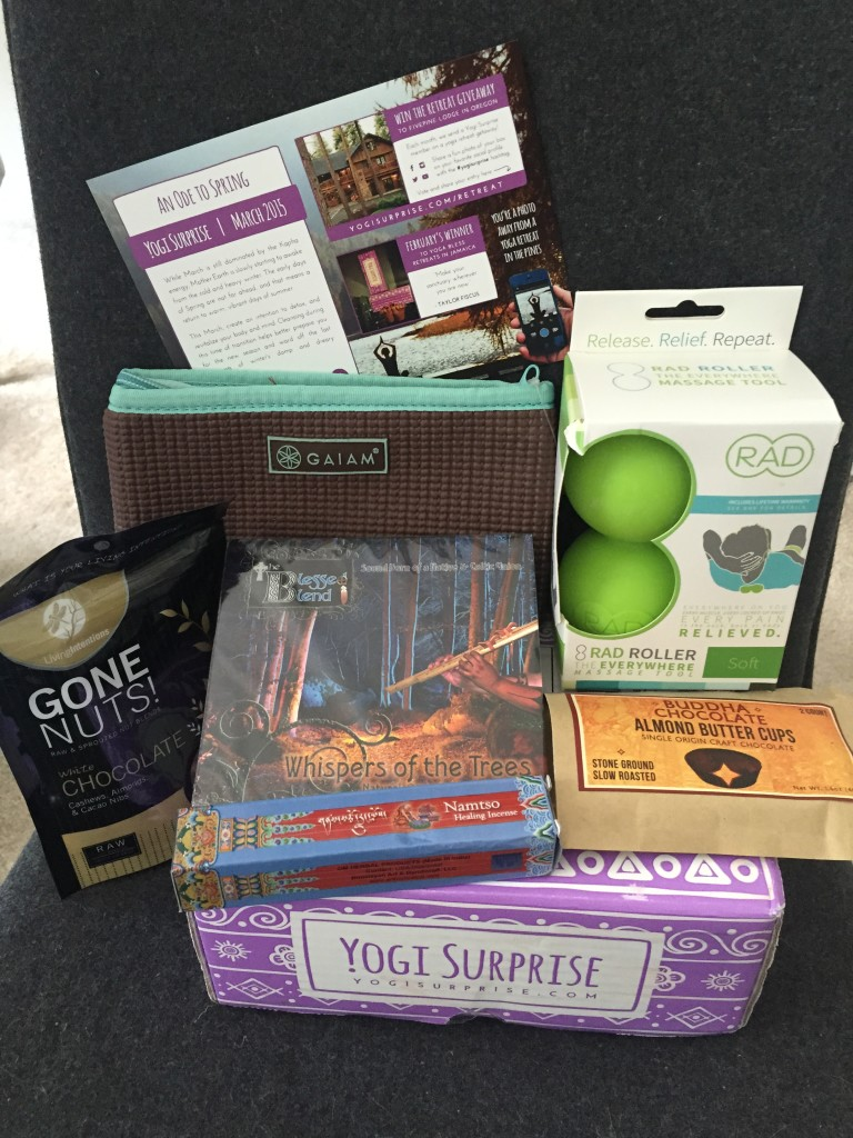 contents of yogi surprise march 2015 box with info card