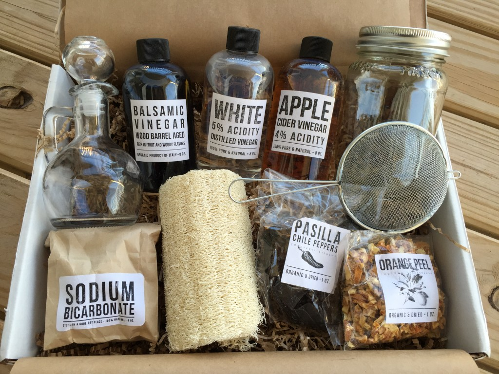contents of the homegrown collective march 2015 box with vim & vinegar theme