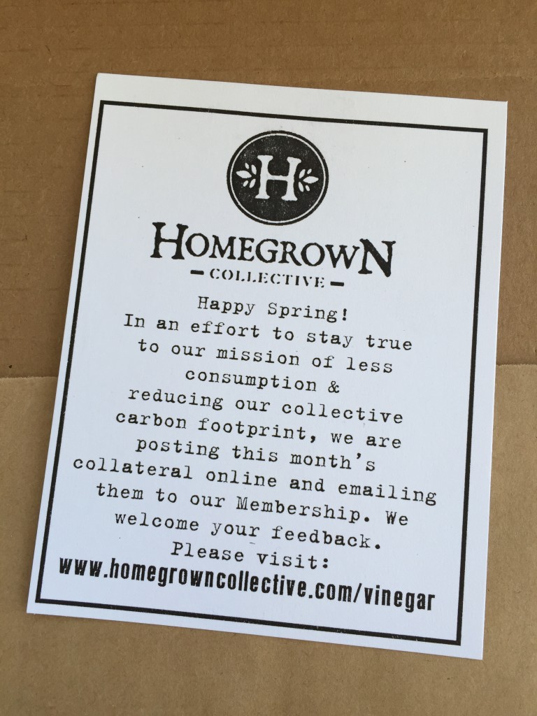 note in the homegrown collective box indicating no more paper inserts
