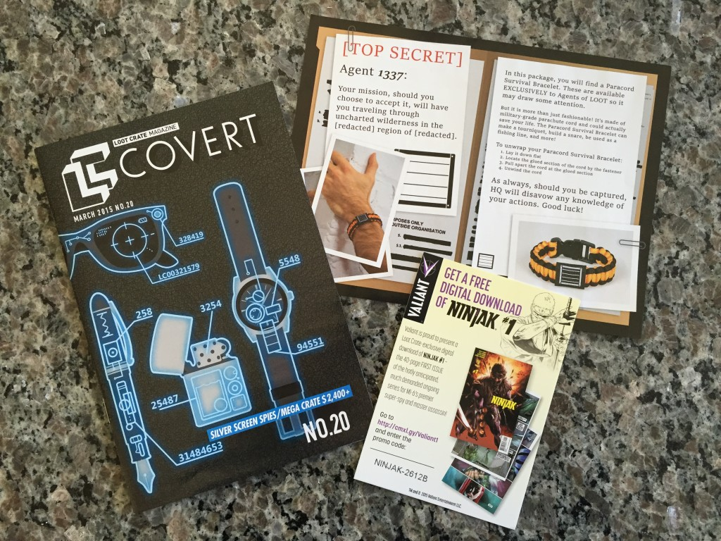 papers from loot crate march 2015 box