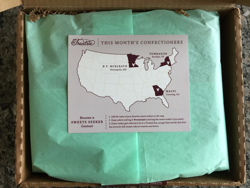 treatsie april 2015 info card with map of confectioners