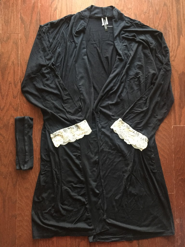 adoreme daniele robe nightgown in black with white lace cuffs and soft belt