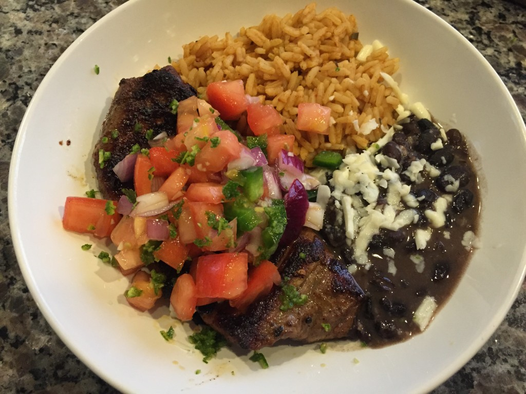 home chef cinco de mayo special carne asada with pico de gallo, spanish rice, and seasoned black beans finished product
