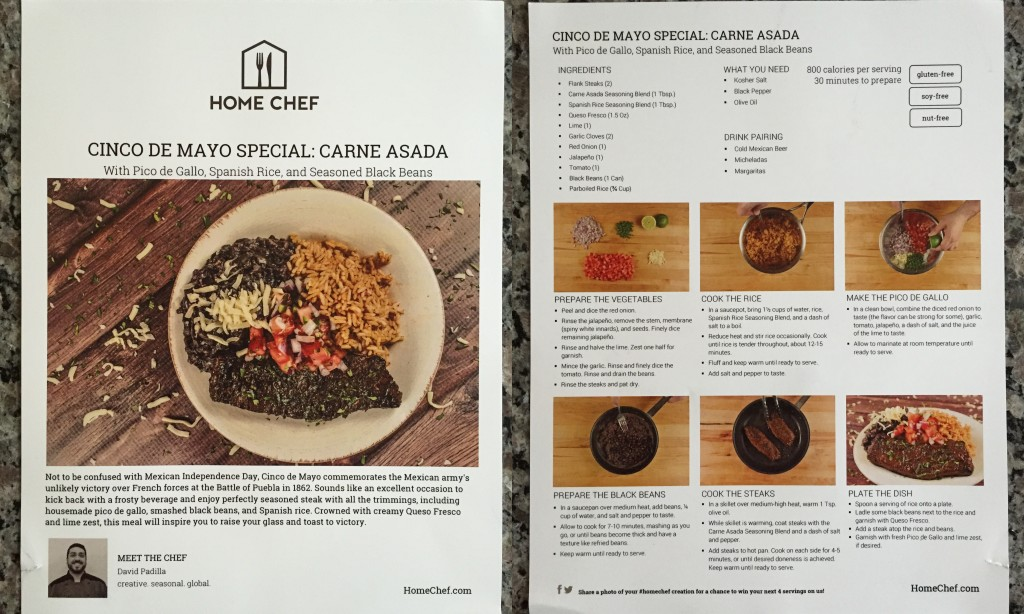 collage of home chef cinco de mayo special carne asada with pico de gallo, spanish rice, and seasoned black beans recipe card