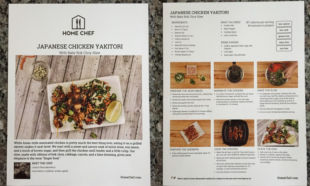 collage of home chef japanese chicken yakitori with baby bok choy slaw recipe card