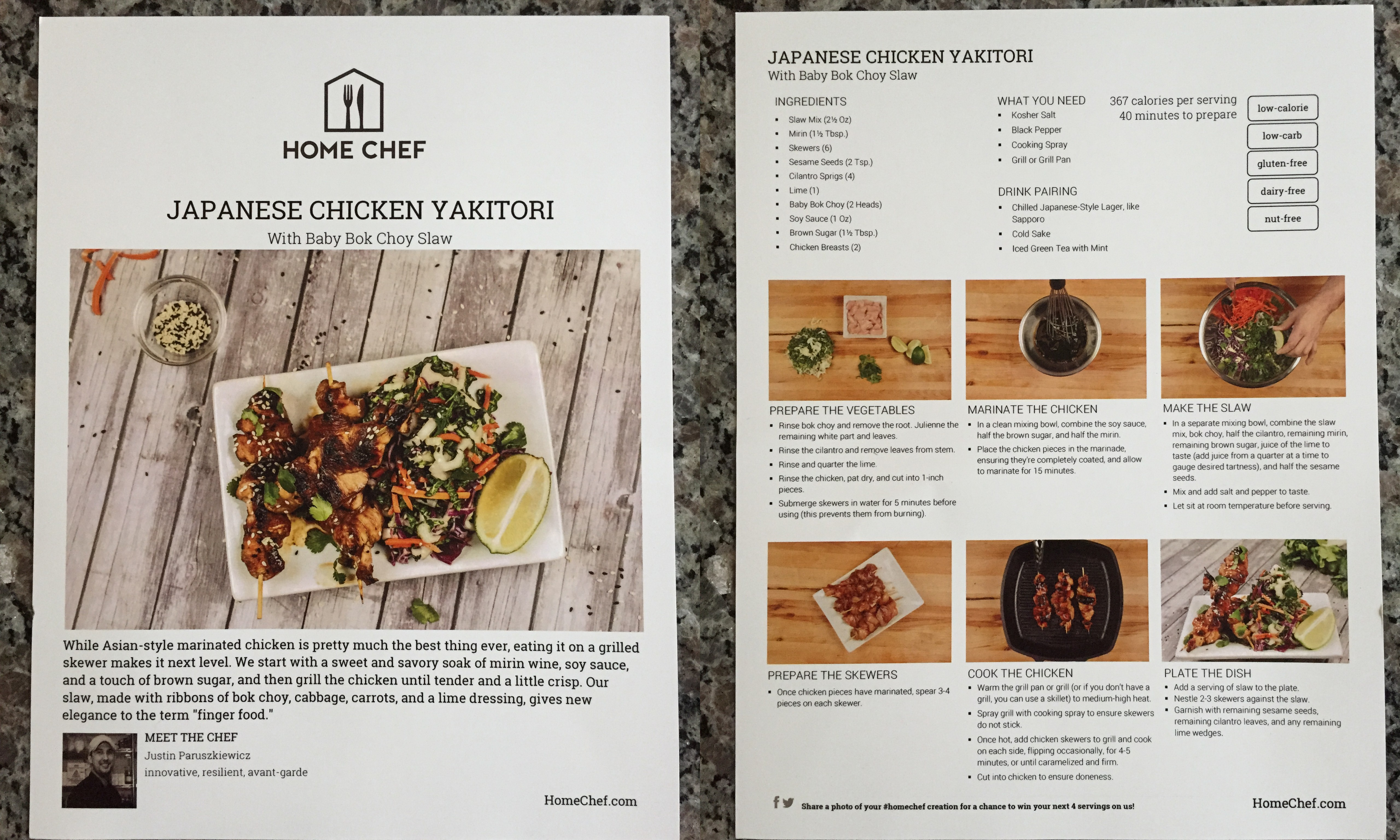 Home chef little fat notebook collage of home chef japanese chicken yakitori with baby bok choy slaw recipe card forumfinder Gallery