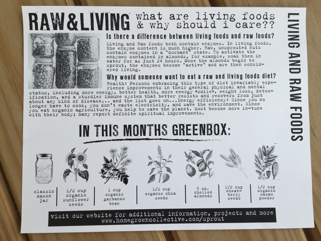 the homegrown collective april 2015 project living and raw foods info card