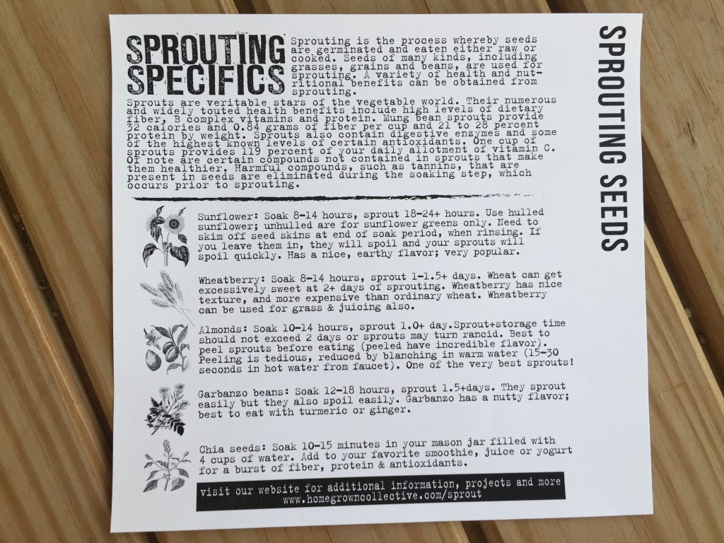 the homegrown collective april 2015 project sprouting specifics info card