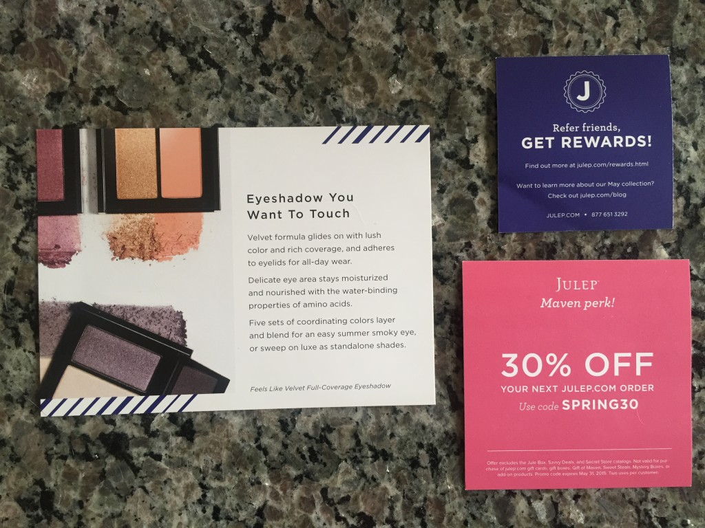 julep set sail collection card, discount offer card, and refer friend card