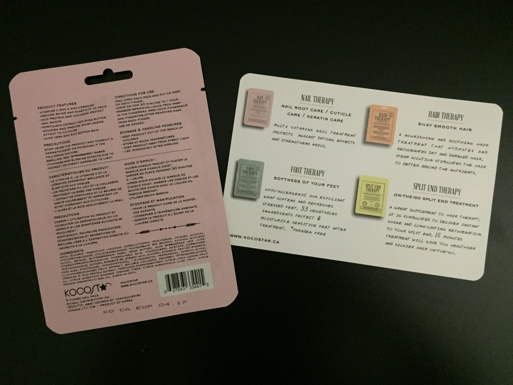 back of kocostar nail therapy treatment pack with info card