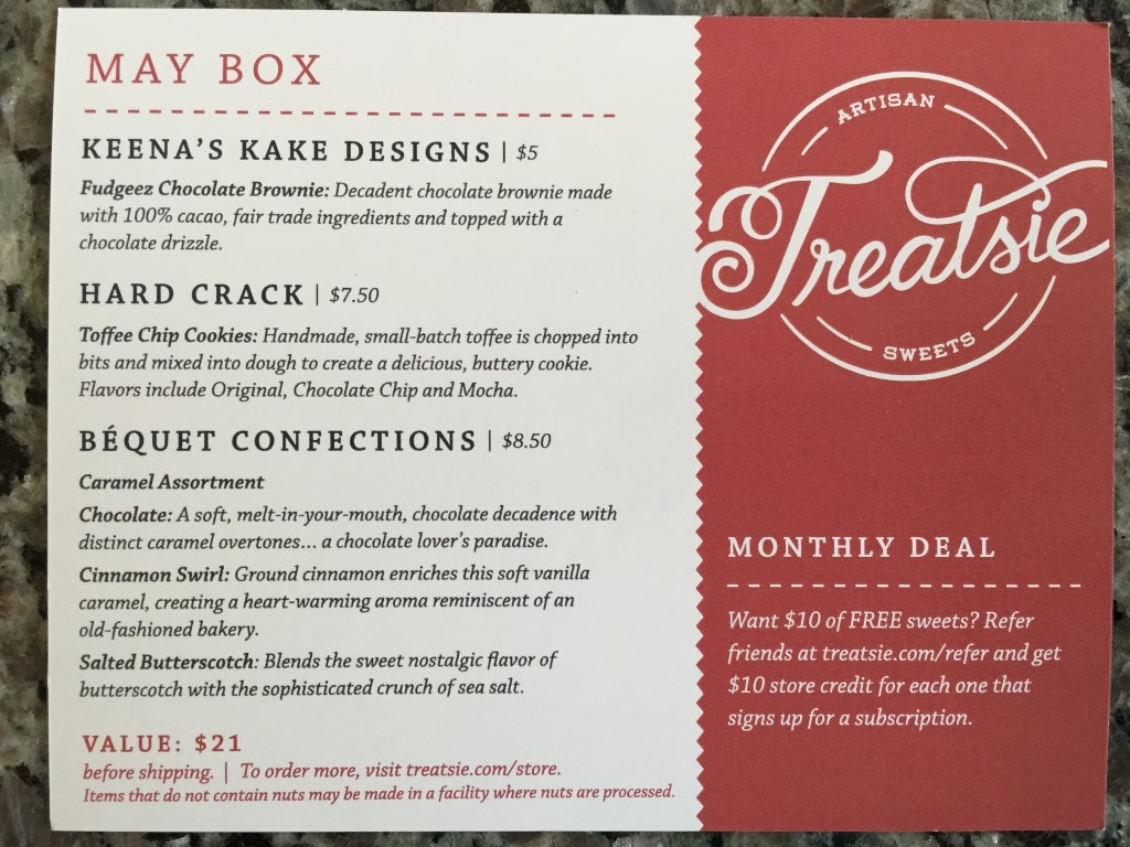 treatsie may 2015 info card