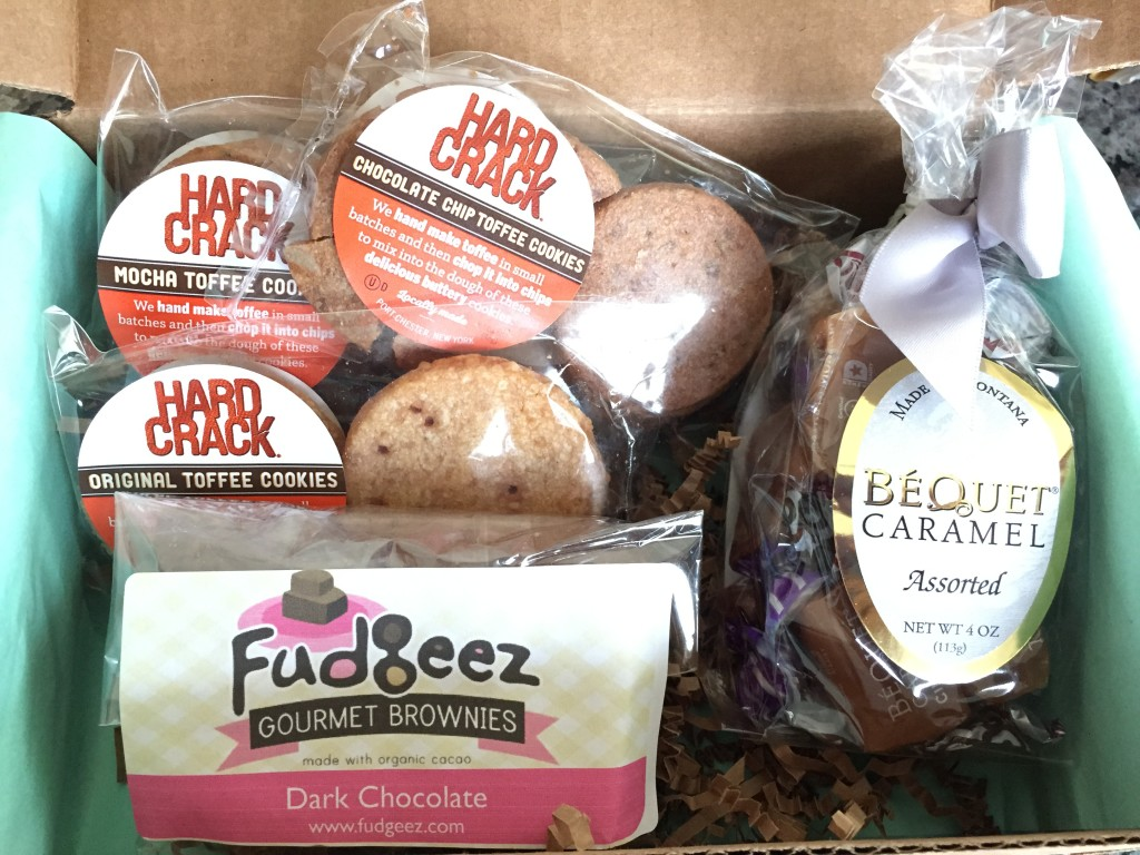 treatsie may 2015 box contents with hard crack toffee cookies, fudgeez gourmet brownies, bequet assorted caramels