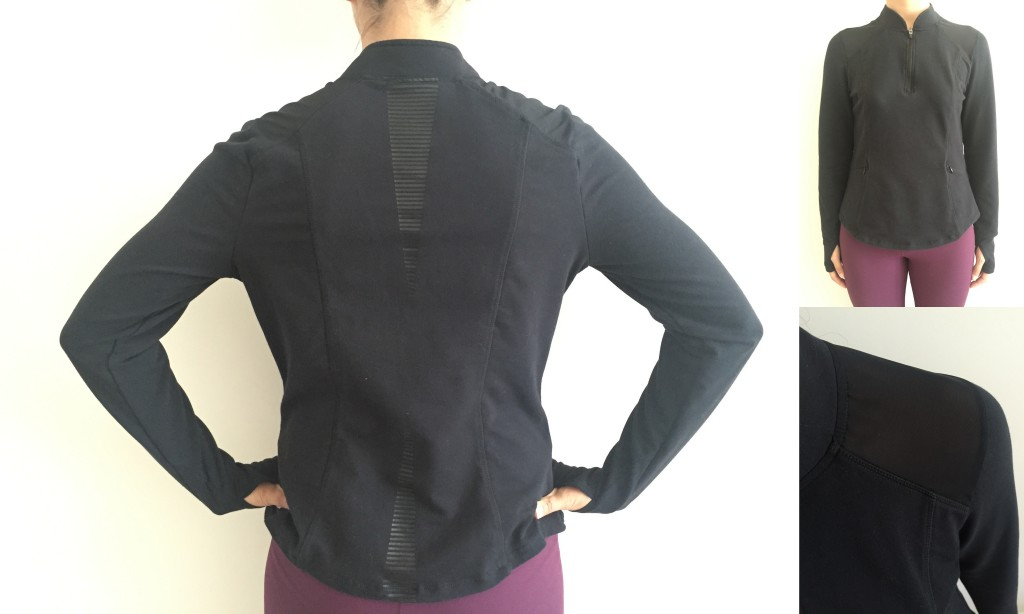 collage of front, back, and sheer shoulder of fabletics delamo jacket in black