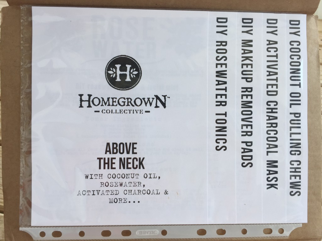 inside of above the neck homegrown collective 2015 box with the info sheets on the inner lid