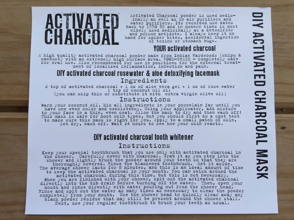 the homegrown collective may 2015 project diy activated charcoal mask info card