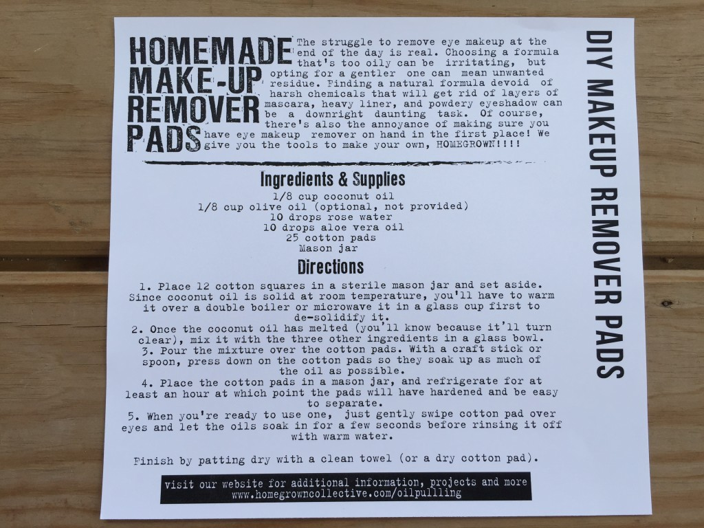 the homegrown collective may 2015 project diy makeup remover pads info card
