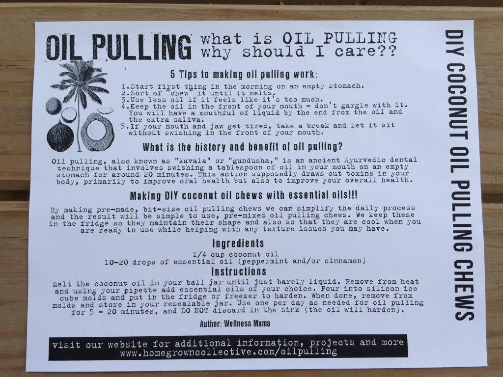 the homegrown collective may 2015 project diy coconut oil pulling chews info card