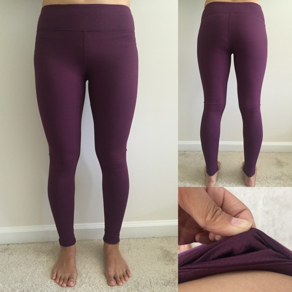 collage of front, back, and hidden pocket of fabletics salar leggings in plum
