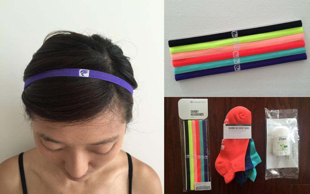collage of fabletics skinny headbands 6-pack in multi print