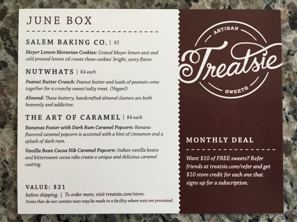 treatsie june 2015 info card