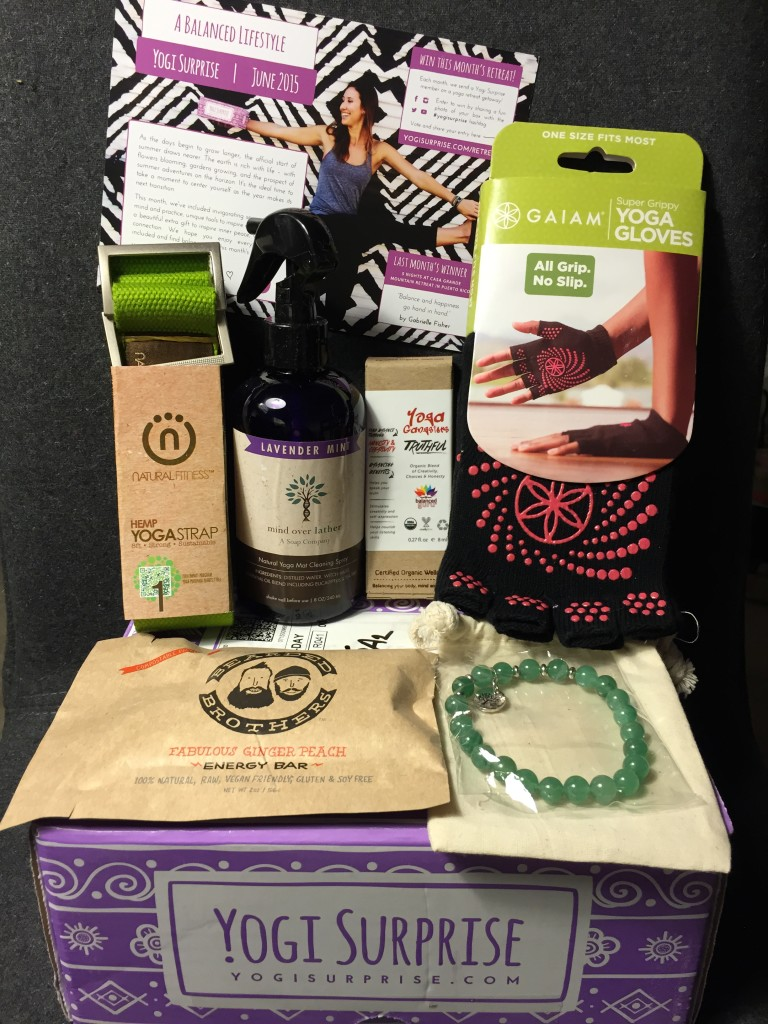 contents of yogi surprise june 2015 box with info card