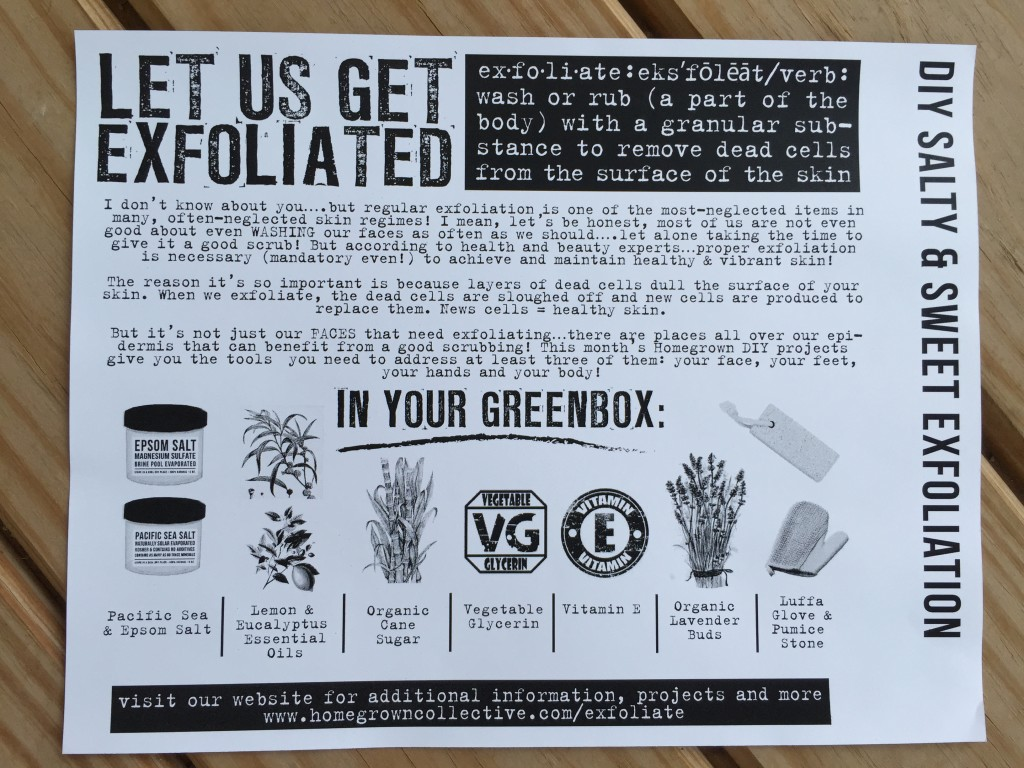 the homegrown collective june 2015 diy salty & sweet exfoliation info card
