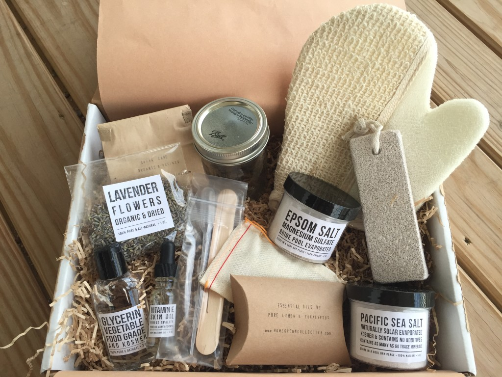 contents of the homegrown collective june 2015 box with salty & sweet theme