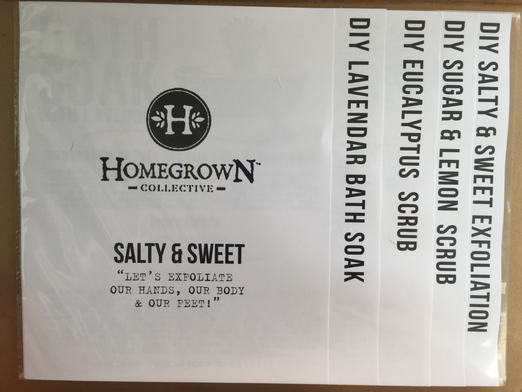 inside of salty & sweet homegrown collective 2015 box with the info sheets on the inner lid