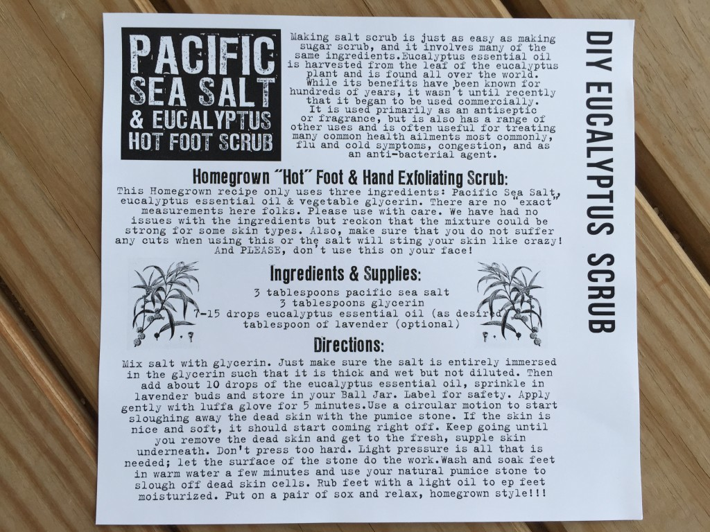the homegrown collective june 2015 project diy eucalyptus salt scrub info card