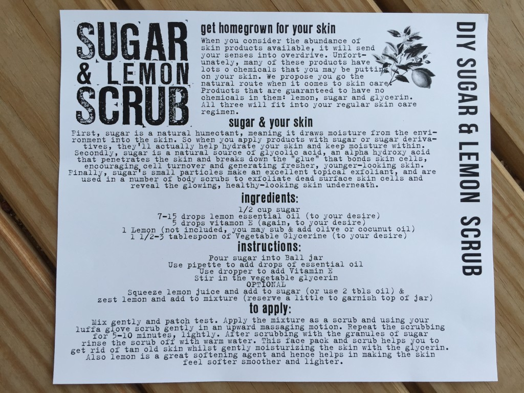 the homegrown collective june 2015 project diy sugar & lemon scrub info card
