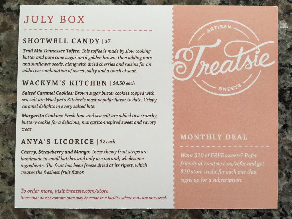treatsie july 2015 info card