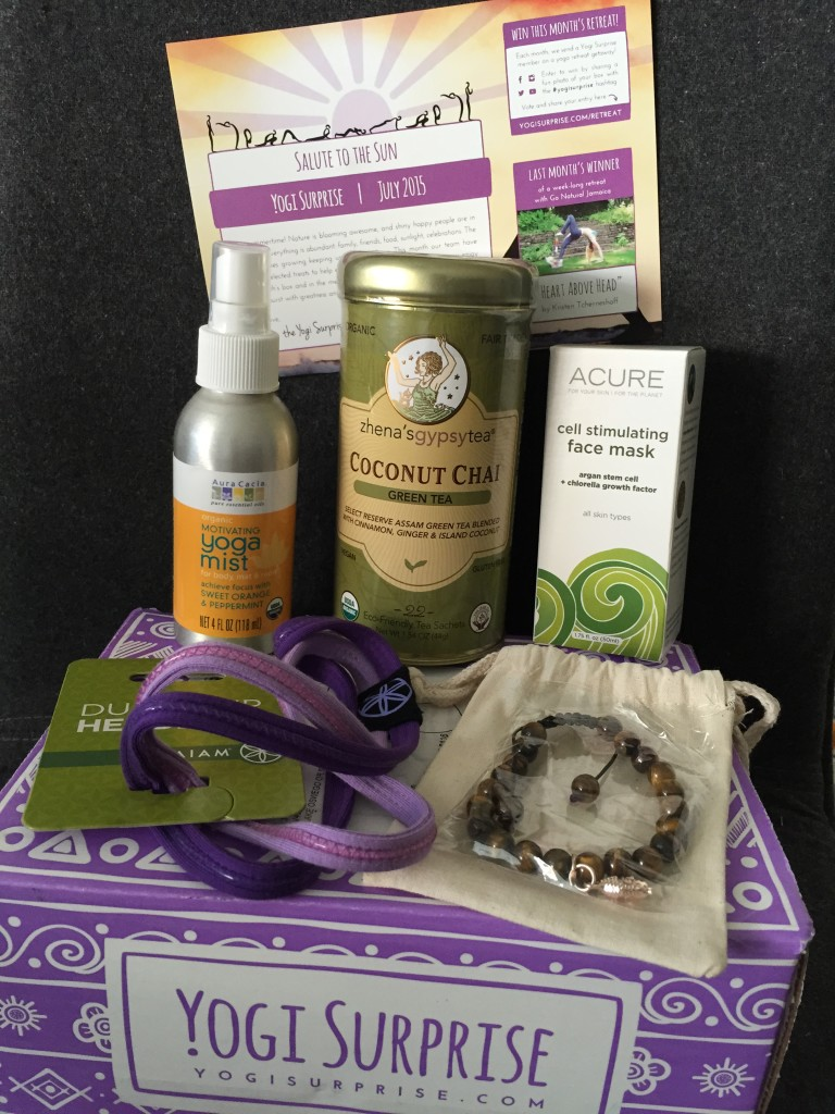 contents of yogi surprise july 2015 box with info card