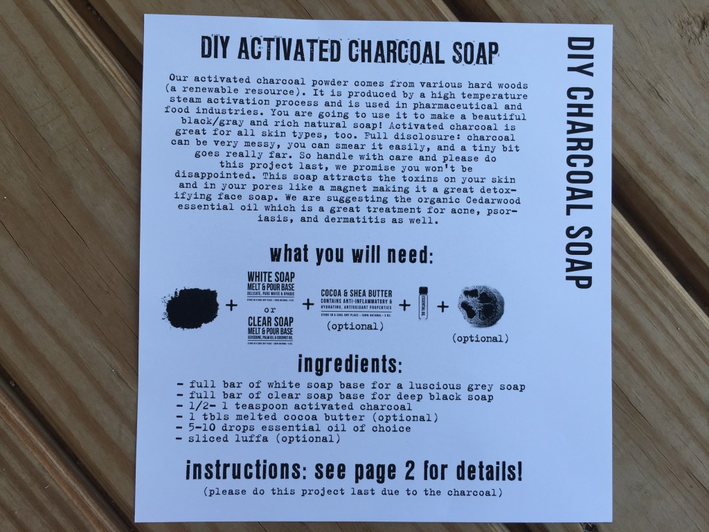 the homegrown collective july 2015 project diy charcoal soap info card