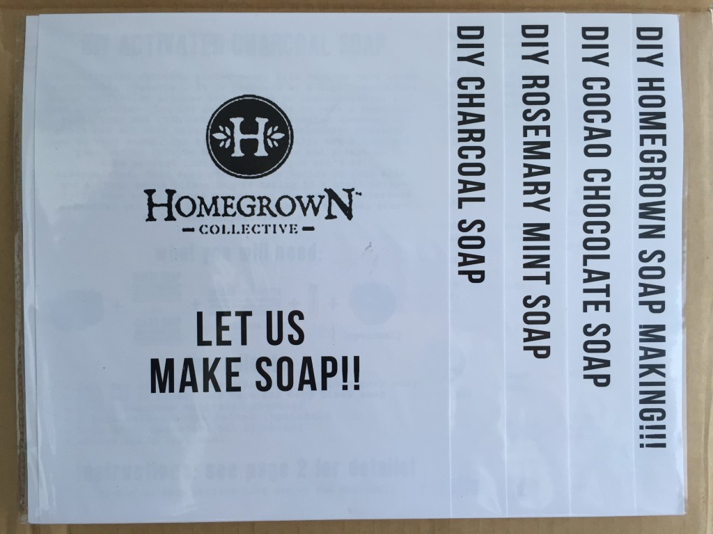 inside of let us make soap!! homegrown collective 2015 box with the info sheets on the inner lid