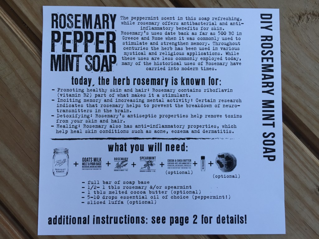 the homegrown collective july 2015 project diy rosemary mint soap info card